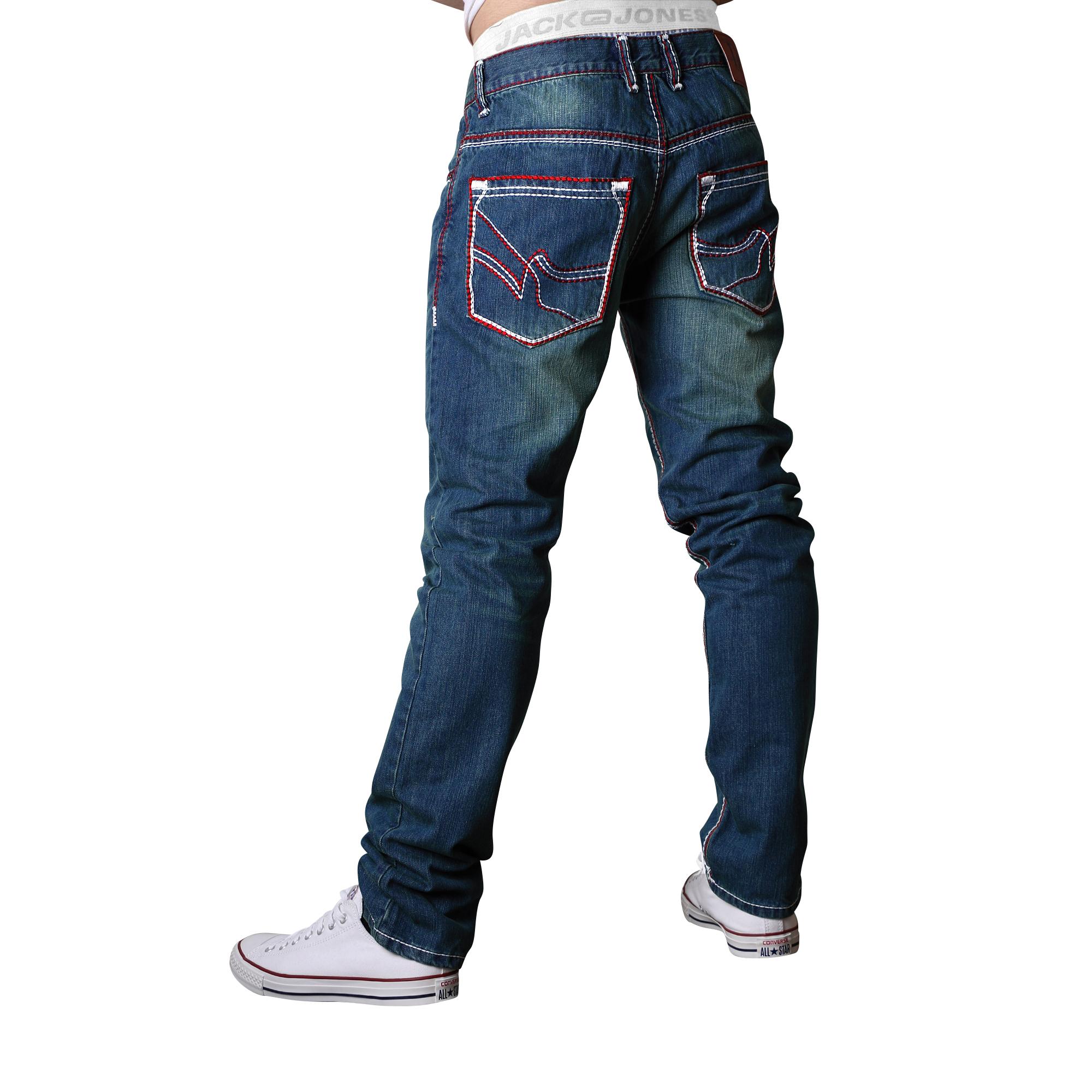 herren jeans straight cut hose dicke zier naht vintage. Black Bedroom Furniture Sets. Home Design Ideas
