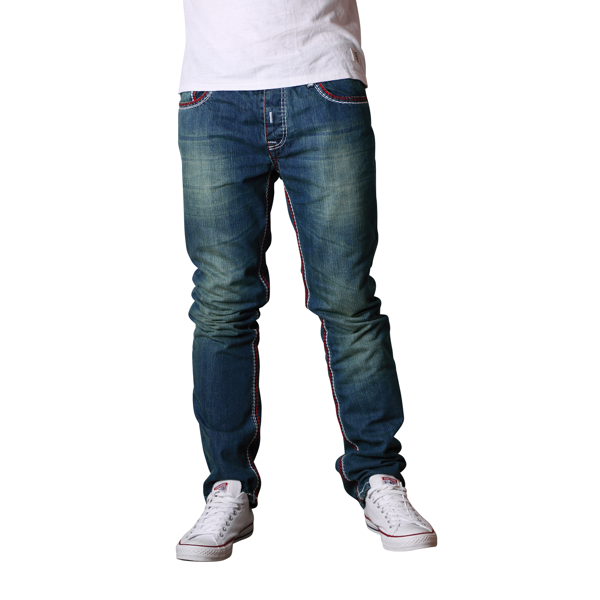 herren jeans straight cut hose dicke zier naht vintage clubwear blau rote naht ebay. Black Bedroom Furniture Sets. Home Design Ideas